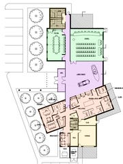 This updated floor plan from Port Huron architect Bill Vogan shows the layout of a potential new Marysville city hall. Green shows council areas, purple the museum and lobby area, peach administration areas, beige storage, and the lines where the square footage has been reduced. City Council members will decide whether to OK $2.1 million for the project.
