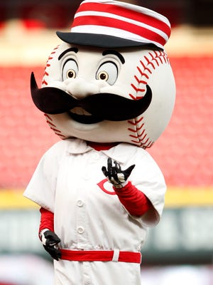 Reds mascot Mr. Redlegs before last night's game against the Cubs.