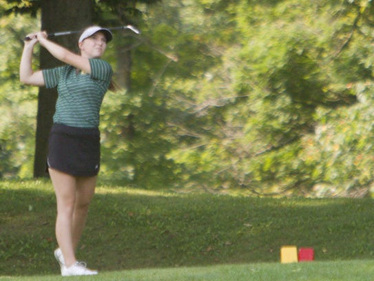 Howell's Madi Guilmette tees off at No. 18 on Wednesday.