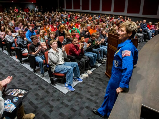 Peggy Whitson, astronaut, speaks to students at Mt. Ayr High School Auditorium Thursday, Dec. 7, 2017, in Mt. Ayr, Iowa.
