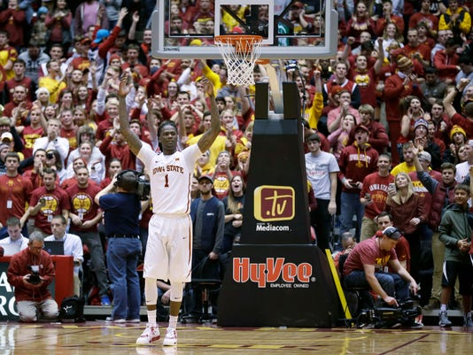 Iowa State forward Jameel McKay celebrates on the court at the end of an NCAA college basketball game against Oklahoma, Monday, Jan. 18, 2016, in Ames, Iowa. Iowa State won 82-77. (AP Photo/Charlie Neibergall)