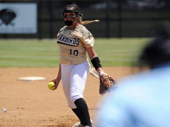 Abilene High pitcher Kaylen Washington (10) goes through