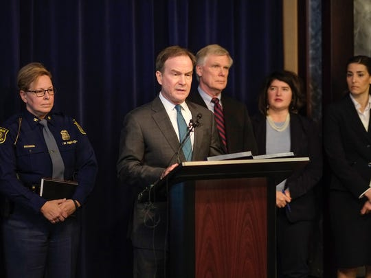Michigan Attorney General Bill Schuette, announces his office has launched an investigation into Michigan State University's handling of sexual assault cases Saturday, Jan. 27, 2018 in Lansing, Michigan.