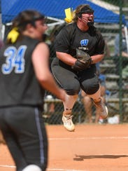 Wilson's Johnna Staggs celebrates the last out after