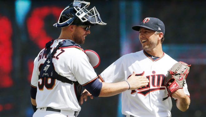 Minnesota pitcher Brandon Kintzler celebrates after the Twins beat the Seattle Mariners 6-2 in a baseball game Thursday, June 15, 2017, in Minneapolis. Kintzler was named to the American League All-Star team and made history as the first player from Dixie State to be named to a MLB All-Star team.