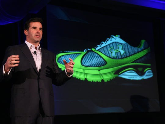 Kevin Plank gives remarks at the launch event for Under Armour's  running shoes in New York, Dec. 9, 2008.