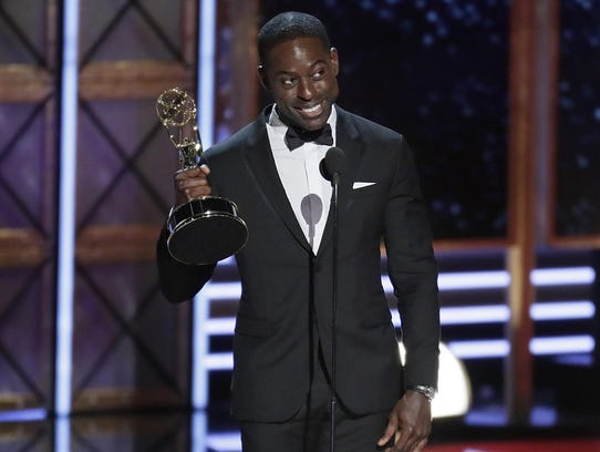 Sterling K. Brown accepting his Emmy for Outstanding
