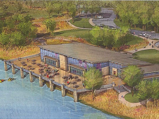 A rendering of proposed lodge at Easter Lake on Des Moines' south side.