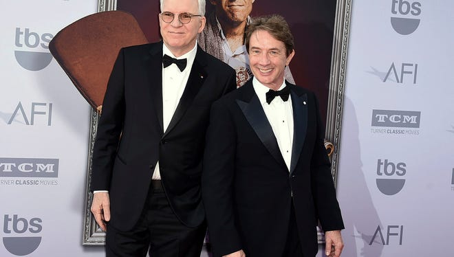"""Honoree Steve Martin left, and Martin Short at the 43rd AFI Lifetime Achievement Award Tribute Gala in Los Angeles. Steve Martin and Martin Short are gearing up for a national tour, """"An Evening You Will Forget for the Rest of Your Life,"""" which launches on Friday."""