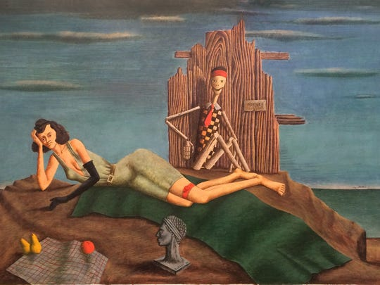 This untitled painting of a reclining woman with a skeleton was found in John Wilde's home this summer.