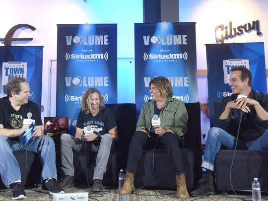 Eddie Trunk, Eric Kretz, Dean DeLeo and Robert DeLeo speak at SiriusXM's Town Hall with Stone Temple Pilots at The Gibson Showroom in Los Angeles on September 7, 2017.
