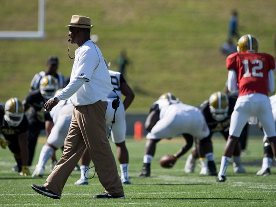 Head Coach Donald Hill-Eley during the Alabama State University Black and Gold Game at Hornet Stadium on the ASU campus in Montgomery, Ala. on Saturday April 28, 2018.