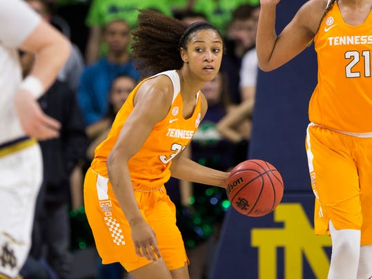 File- This Jan. 18, 2018, file photo shows Tennessee's Jaime Nared (31) during the first half of an NCAA college basketball game against Notre Dame in South Bend, Ind. Tennessee's Mercedes Russell and Nared were highly touted recruits who came all the way from the state of Oregon to play for the Lady Vols. The two seniors have been counted on this season to provide leadership for a team that relies heavily on freshmen while trying to make Tennessee a national contender again. The seniors will play their final regular-season home game Sunday when the 15th-ranked Lady Vols host No. 7 South Carolina.  (AP Photo/Robert Franklin, File)