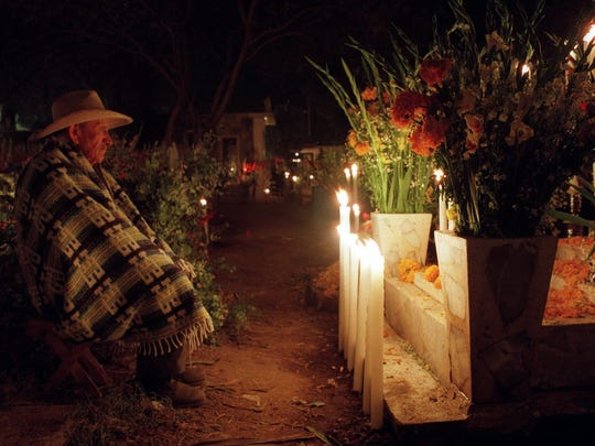 Magdaleno Melendez, 78, visits the grave of his father