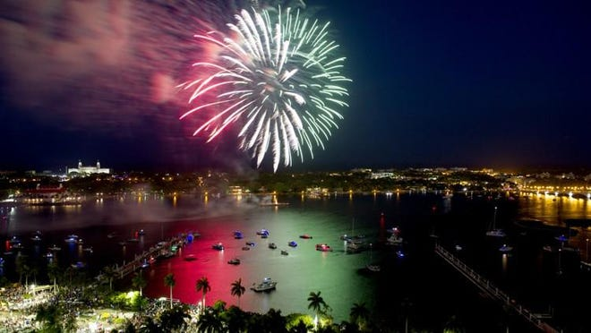 Fireworks explode over the Intracoastal Waterway during Fourth On Flagler.