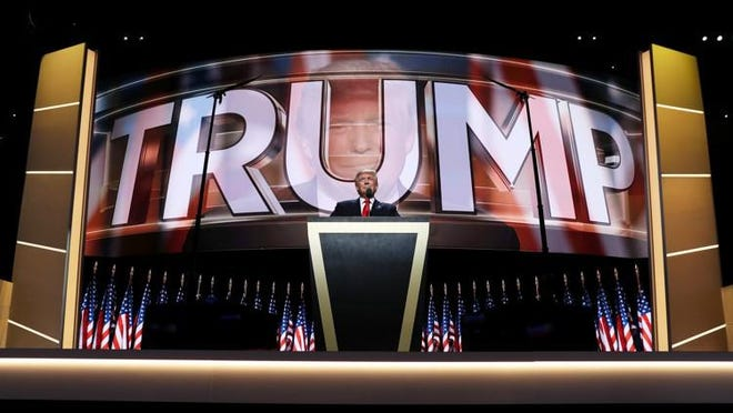 Republican presidential candidate Donald Trump delivers a speech on the fourth day of the Republican National Convention on July 21, 2016, at the Quicken Loans Arena in Cleveland, Ohio.