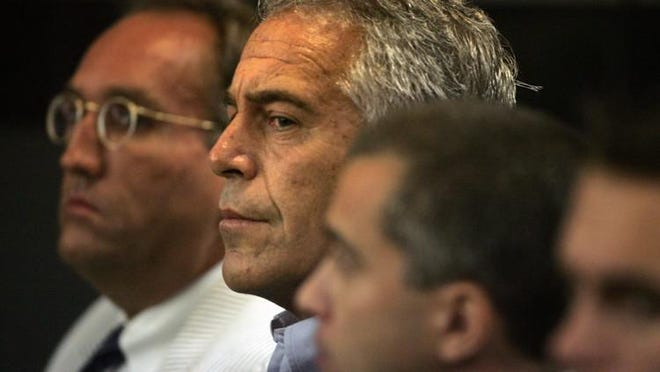 Jeffrey Epstein is shown in court in 2008.