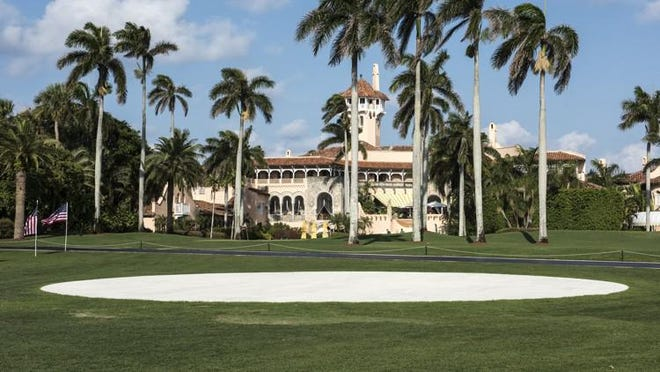 The Intracoastal side of the Mar-a-Lago Club with a view of the presidential helipad.
