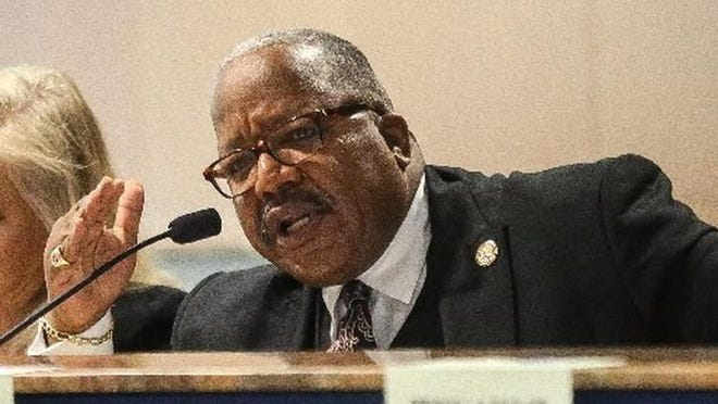 """West Palm Beach Mayor Keith James took issue with Giddens Security employees coming to Monday's meeting. """"So, for Mr. Giddens to encourage you all to come up and pull at our heartstrings, in my view, is quite disingenuous."""" (DAMON HIGGINS/palmbeachpost.com]"""