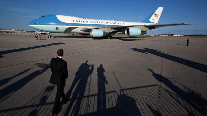 President Trump arrives aboard Air Force One recently at Palm Beach International Airport in West Palm Beach. The FAA said nine small planes violated temporary flight restrictions through Monday morning during Trump?s recent visit to Palm Beach County.
