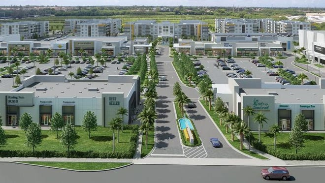 Planned Uptown Boca Raton mixed-use center, to be built west of Boca Raton. The project will REI as well as a grocery store, movie theater, restaurants, shops and apartments.