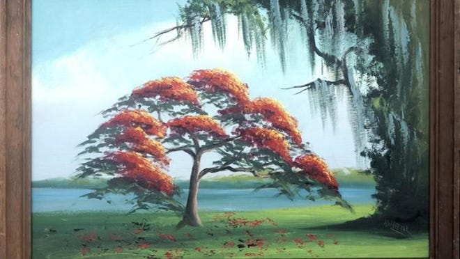The late Alfred Hair's circa 1965 painting of a Royal Poinciana tree is among the 150 Florida Highwaymen paintings that Art Link International will exhibit later this month at the Palm Beach Art, Antique & Design Center in Lake Worth.