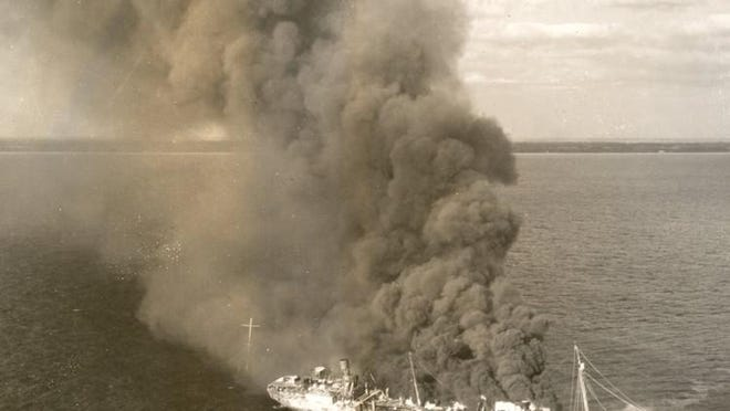 An unidentified ship burns off the Palm Beach County coast. Off Florida alone, between February and May 1942, German U-boats sank 24 ships. Sixteen went down in a 150-mile stretch of Florida coastline from Cape Canaveral to Boca Raton.
