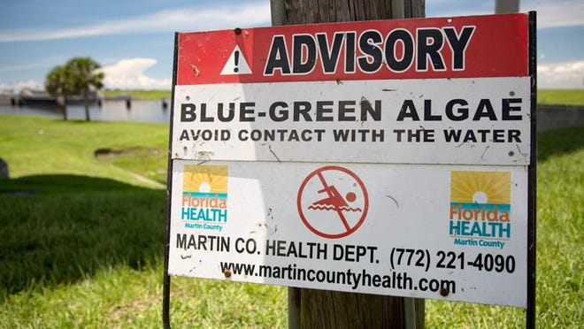 A sign posted by Martin County Health Department warns people to avoid contact with blue-green algae near the Port Mayaca locks on June 12, 2018.