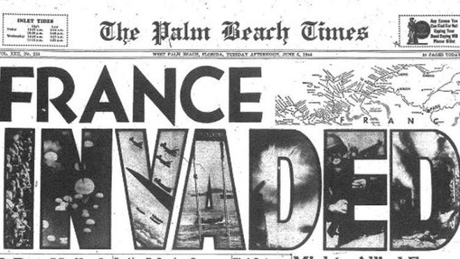 The June 6, 1944 cover of the afternoon Palm Beach Times paper, later Palm Beach Evening Times.