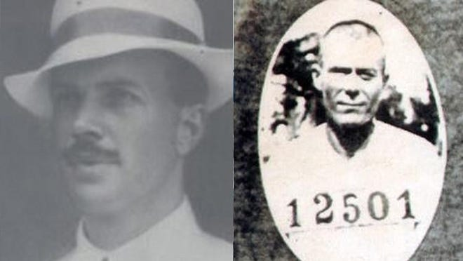 While leading a posse into the camp of the outlaw Ashley Gang, Deputy Frederick Baker, left, became involved in a gun fight and was fatally wounded. The Ashley Gang was led by John Ashley (right).