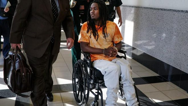 Dontrell Stephens, who won a $22.4 million verdict in an excessive force case against the Palm Beach County Sheriff's Office, appears in court in 2017.