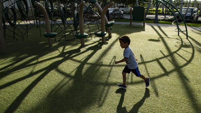 Conner Angel runs on the padded turf at Scott's Place at 12190 Forest Hill Blvd., Wellington in Wellington.