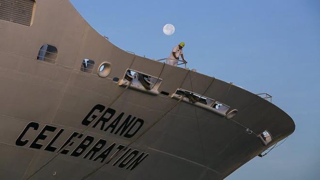 The Grand Celebration cruise ship docks last year  at the Port of Palm Beach.