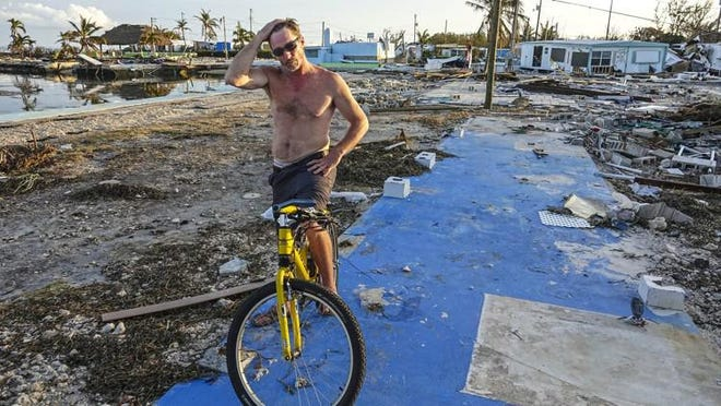 Billy Quinn stands on the slab that his mobile home once stood on in the Seabreeze Mobil Home Park in Islamorada on September 12, 2017. The storm surge from Hurricane Irma passed over the area and and devastated almost all of the homes. Quinn spent the storm in a nearby friend's house that survived the storm.