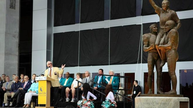 Former Dolphins coach Don Shula reacts to the unveiling of his statue outside Hard Rock Stadium in 2010.