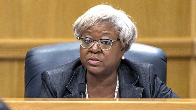 Palm Beach County Administrator Verdenia Baker at a county commission meeting in January 2018.