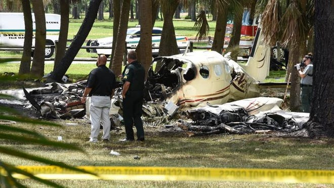 A plane crash at John Prince Park, Lake Worth, Sunday, September 9, 2018. Two people were killed.