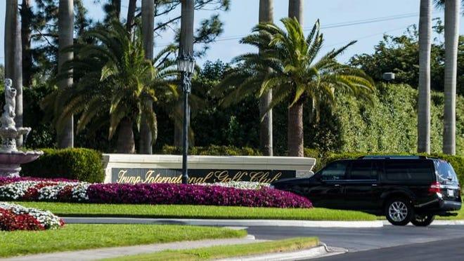 President Donald Trump's motorcade enters Trump International Golf Club in West Palm Beach on February 19, 2018.