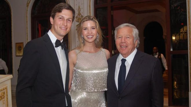 Robert Kraft, right, posed with Ivanka Trump Kushner and her husband, Jared Kushner, at a 2013 New Year?s party at The Mar-a-Lago Club. Debbie Schatz/Palm Beach Daily News