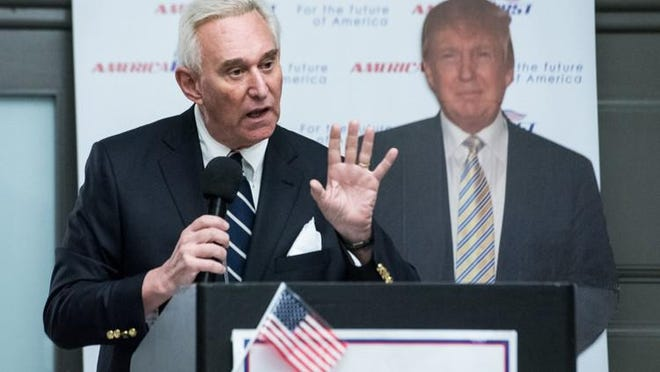 President Donald Trump commuted the sentence of former campaign advisor Roger J. Stone Jr., seen here speaking in 2017 at an event in Boca Raton. Stone was to begin serving a 40-month sentence for among other things, lying to federal prosecutors about alleged contacts he had with Russia-linked hackers during the 2016 presidential election.