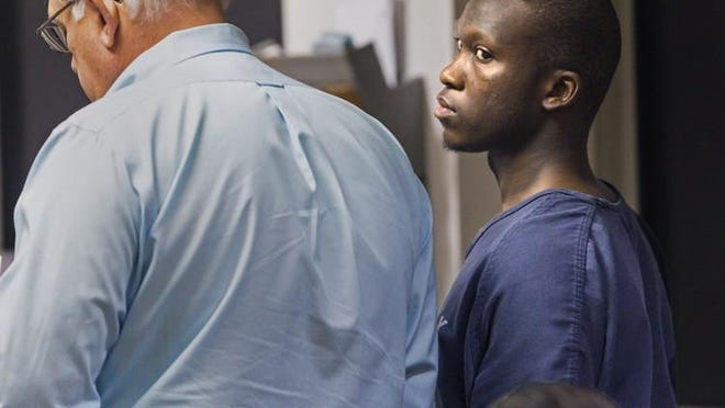 Roderick Taylor appears in court Tuesday, April 18, 2017, charged in a shooting that killed a woman the night of April 5 in front of the Z Food Meat Market in Boynton Beach. Curtisia Courtney Smith died Monday night at Delray Medical Center. Smith was shot at point-blank range in what police call a targeted attack.