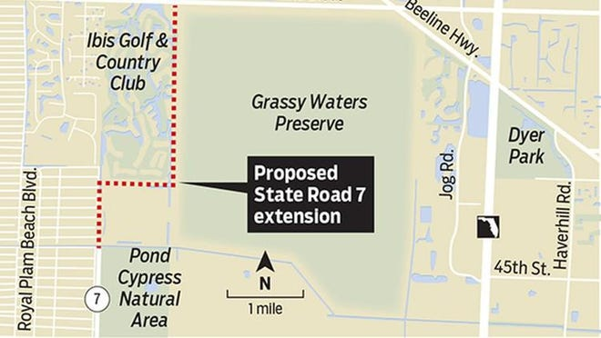 The extension of State Road 7 is planned to hug the western edge of Grassy Waters Preserve, and the eastern edge of the Ibis Golf and Country Club community.