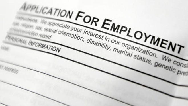 This April 22, 2014, file photo shows an employment application form. Pennsylvania's unemployment rate was 13% in June, down four-tenths of a percentage point from May's adjusted rate, the state Department of Labor and Industry said.
