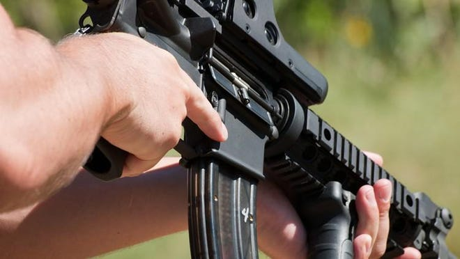 Firearm AR-15 for target shooting.
