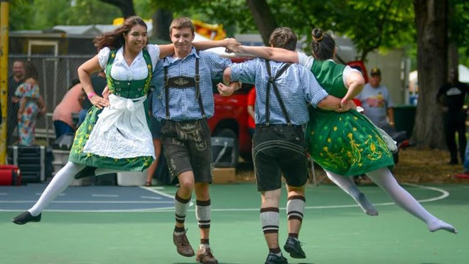 Members of the Keine Kunst Folk Dance Troupe perform at the 2017 Deutschen Pfest. This year's event, which was postponed from May to October, has now been canceled.
