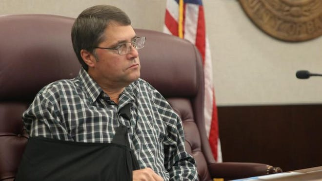 Bastrop County Precinct 3 Commissioner Mark Meuth voted in favor of a resolution in which the county will oppose a company's plans to build a waste transfer station in Cedar Creek. He represents residents in the area that have rallied against the project. MARY HUBER/BASTROP ADVERTISER