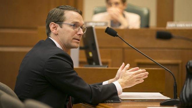 State education commissioner Mike Morath testifies at the state House Committee on Education at the Capitol in 2019.