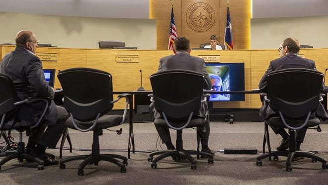 Precinct Three Commissioner, Gerald Daugherty speaks during at a 2019 meeting of the Travis County Commissioners Court.  Daugherty had placed an item on Tuesday's agenda that called for a vote on the court's stance regarding the mass transit voter proposition Project Connect. That item was canceled after Travis County Attorney David Escamilla raised questions over its legality under Texas election law.