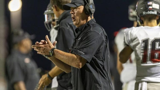 Bowie head coach Jeff Ables led the Bulldogs to a 42-0 win over Akins Friday.