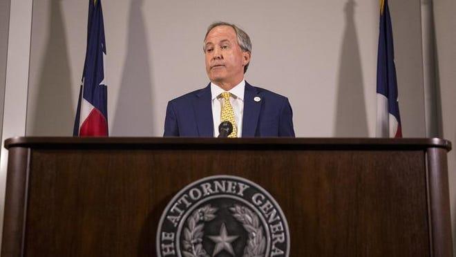 Texas Attorney General Ken Paxton is shown speaking in Austin in 2018.